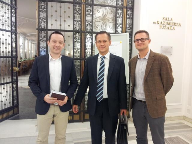 Uczestnicy konferencji: Wojciech Glensk (SONŚ), Józef Kulisz (Danga), Krzysztof Gawliczek (SONŚ)